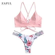 1ccfc76606 ZAFUL Braided Strap Flower Bikini Set Sportswear Bikinis Set Women Bikini  2019(China)