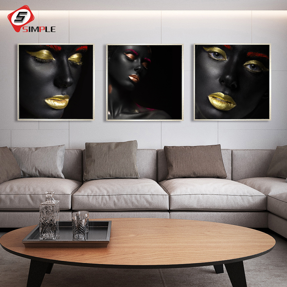 Decoracion Cuadros Salon Us 5 88 22 Off Black Makeup Golden Lips Mounted Art Print And Poster Modern Abstract Paintings Cuadros Decoracion Salon Wall Picture Home Decor In