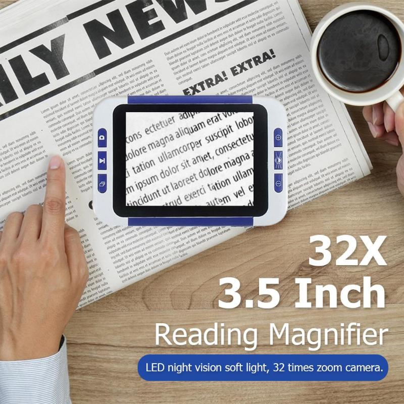 32X 3.5 Inch Portable Digital LCD Magnifier Low Vision Electronic Visual Aids Video Microscope for Old Man Children Kids EU/US32X 3.5 Inch Portable Digital LCD Magnifier Low Vision Electronic Visual Aids Video Microscope for Old Man Children Kids EU/US