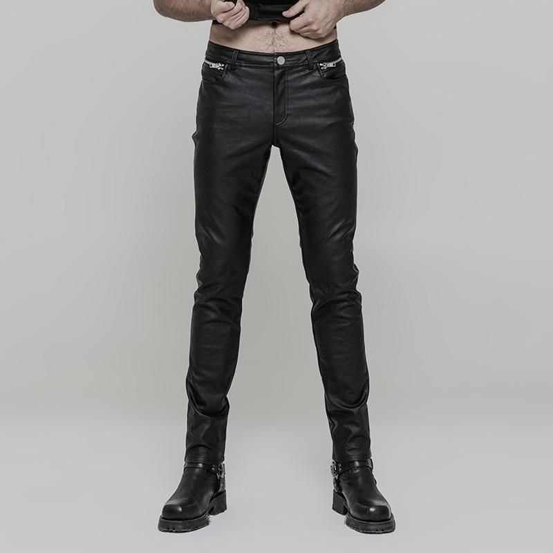 Punk Rave Men's Goth Ruched Faux Leather Skinny Trousers K-321