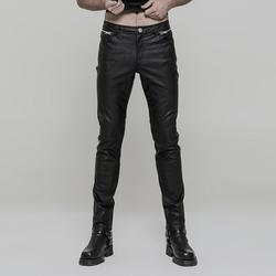 Punk Rave mannen Goth Ruches Faux Leather Skinny Broek K-321