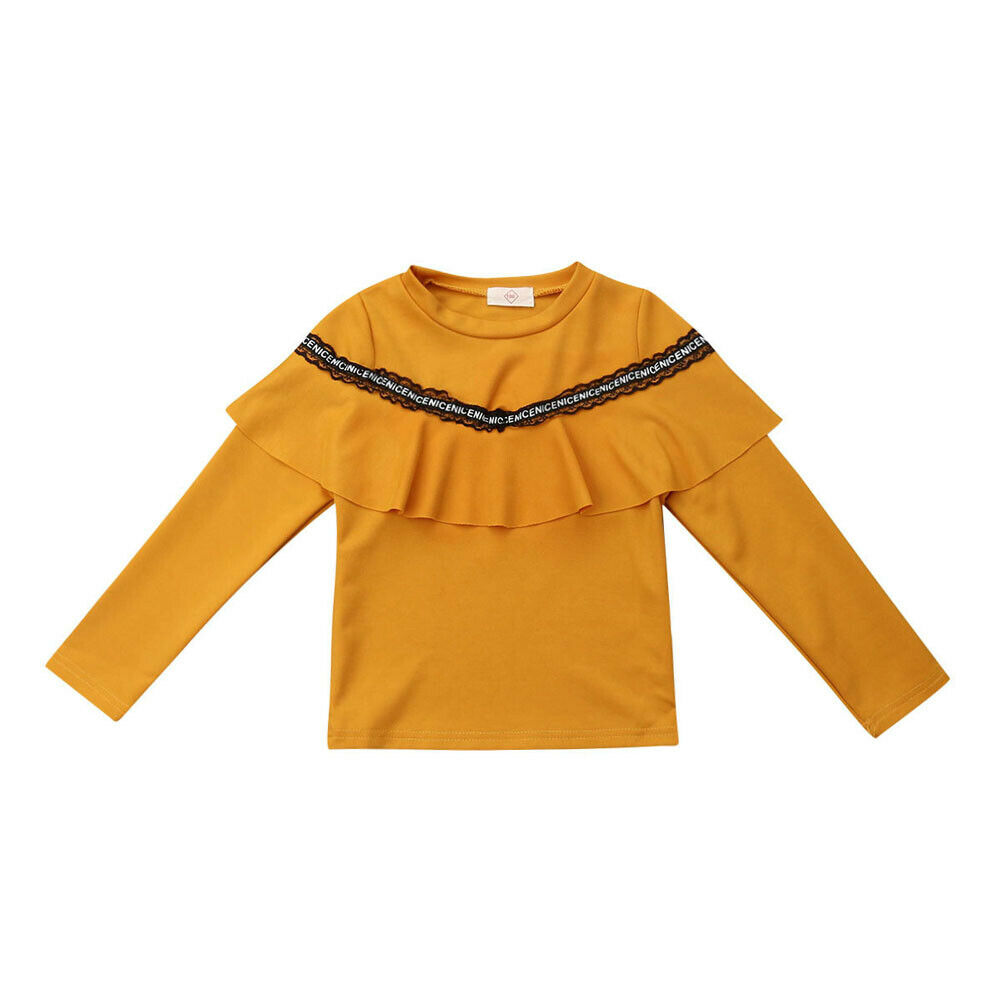 Pudcoco Baby Toddler Girl Kid Long Sleeve T-Shirt Solid Ruffle Crew Neck Clothes Tee