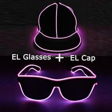 Fashion Cool Glow Party Costume Decoration EL Hip Hop Cap + Sunglasses with Black Lens LED Light up Luminous Glasses