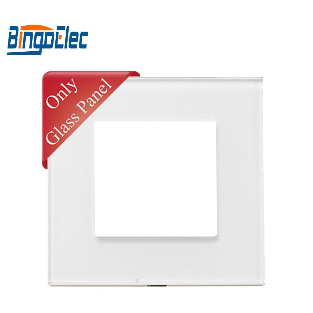 Three Color Crystal Glass Socket Frame,86*86mm,EU /UKstandard,Single Glass Frame For Switch And Socket Parts,