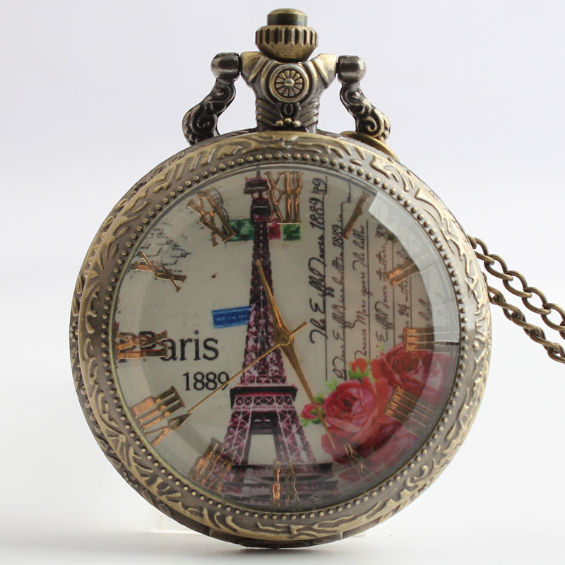 Pocket & Fob Watches  France Eiffel Tower Design  Quartz Pocket Watch with Necklace Chain for Women/Men Gift