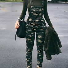 dcc11454153 2018 New Fashion Street Style Women Stylish Leisure Camouflage Overalls  Pocket Front Overalls Army Jumpsuit Xnxee
