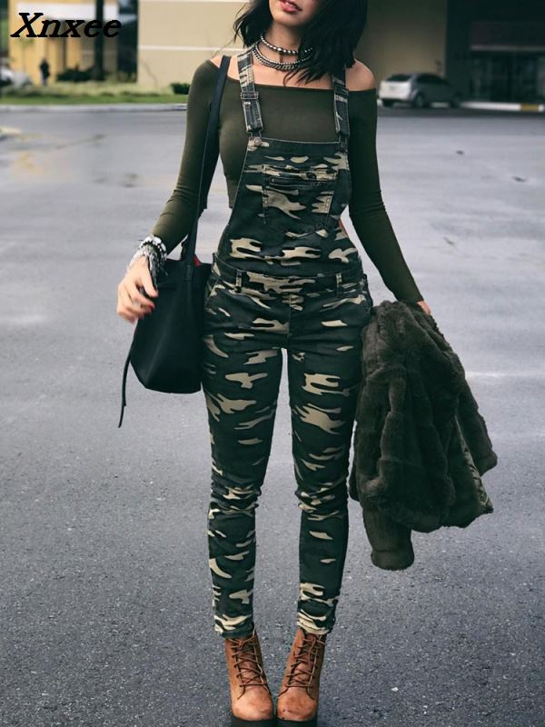 2018 New Fashion Street Style Women Stylish Leisure Camouflage Overalls Pocket Front Overalls Army   Jumpsuit   Xnxee