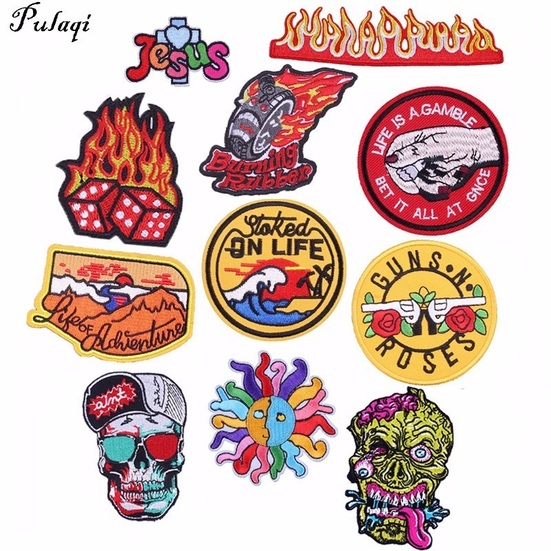 Pulaqi Embroidery Patches for Jacket Back Vest Motorcycle Biker Fire Iron-on Applique For Clothes Apparel DIY Skull Punk Badge H