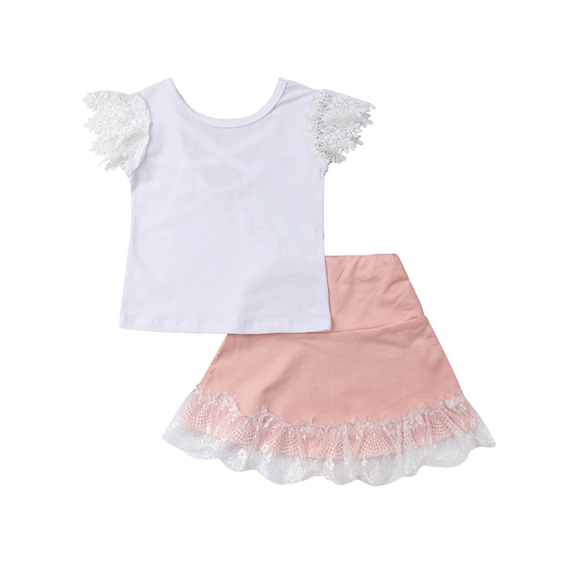 Pudcoco Toddler Baby Girls Summer Clothing Bow Lace Top T-shirt Skirt Dress Outfits White Sleeveless Tops Kids Boutique Set
