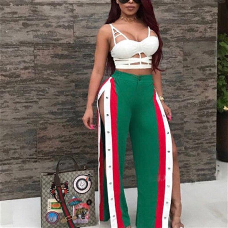 Women Summer Fashion Split   Pants   Side Slit High Waist   Wide     Leg     Pants   Long Trousers
