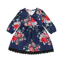 2019 Newest Style Kid Infant Baby Girl Boho Long Sleeve V-Neck Floral Princess Dress Party Holiday Outfits Clothes 1-5T(China)