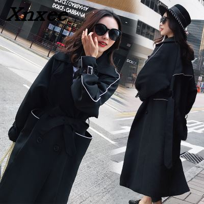 Women's   trench   single breasted turn down collar long sleeve slim coats women loose windbreaker casual streetwear long clothing