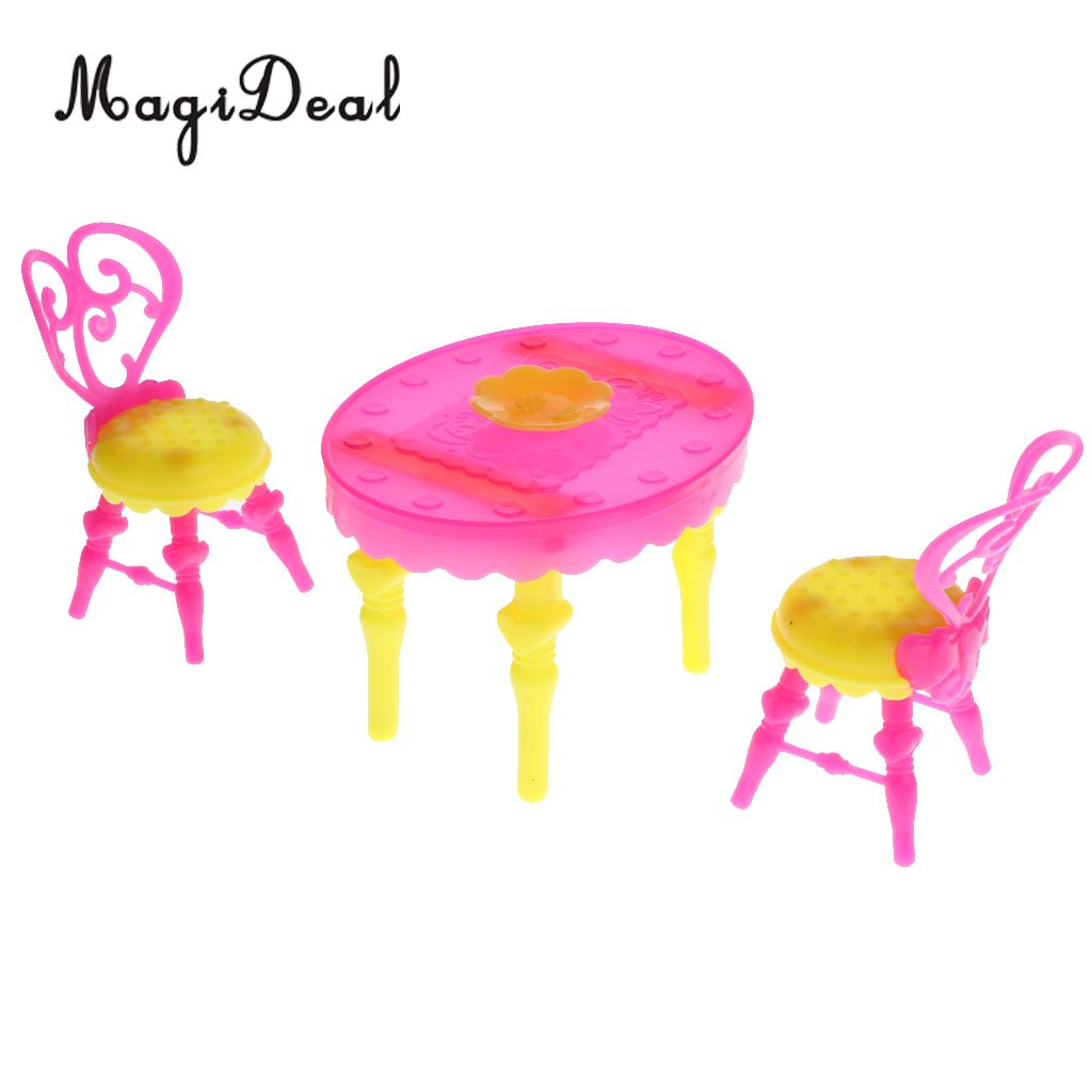 1/6 Scale Plastic Miniature Dining Table Chair Set for  Dolls House Kitchen Dining Room Furniture Decoration Accessories