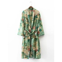 Spring Turn Down Collar Floral Printed Blazer Two Pieces Sets Wiped Kimono Loose Pajama Jacket Trousers Suits