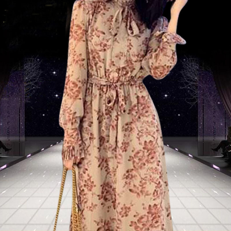 2019 Nouveautés Imprimée K589 Décontracté Élégant longueur Robes Femme Manches A Pour Robe Moulante Femelle ligne Genou À Longues Multi Yyf6gb7v
