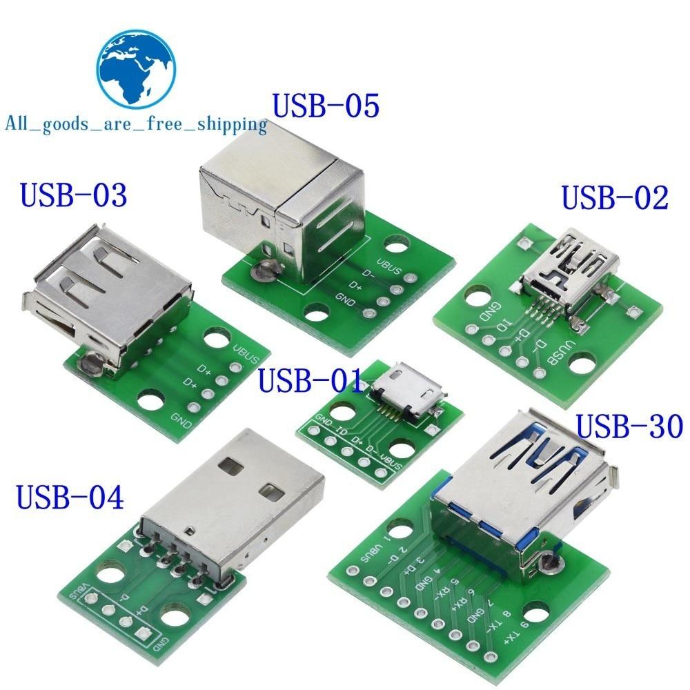 5Pcs Female Mini USB to DIP Adapter Converter 2.54mm PCB Breakout Board wr