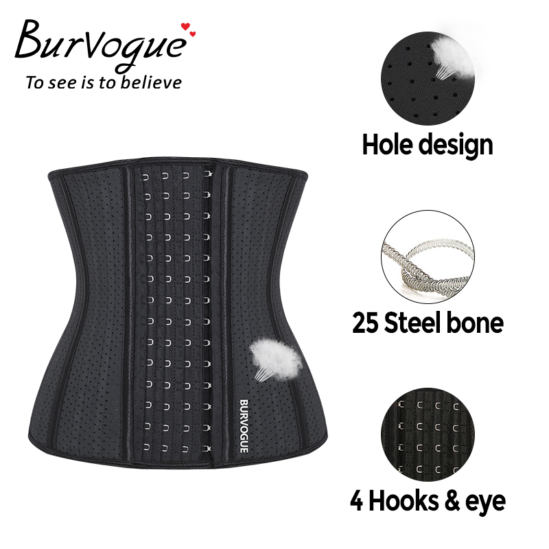 Burvogue Women 25 Steel Bones Waist Trainer Corset Underbust Waist Latex Corset Slimming Shaper Breathable Corset Belt XXS-3XL