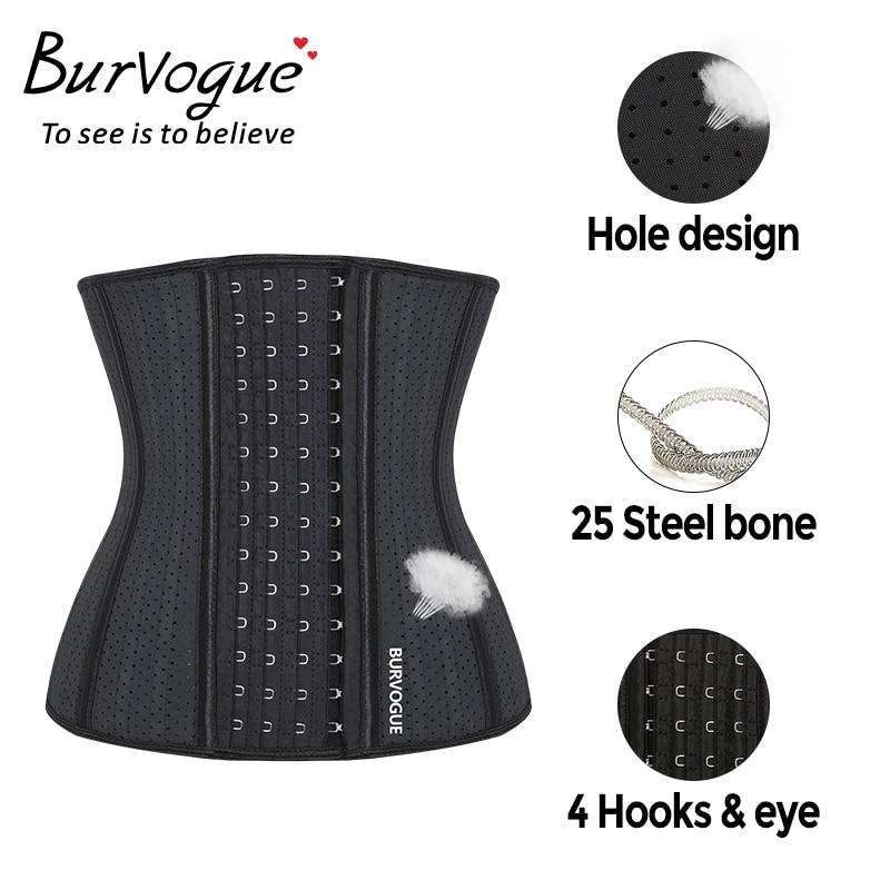 Burvogue Women 25 Steel Bones Waist Trainer   Corset   Underbust Waist Latex   Corset   Slimming Shaper Breathable   Corset   Belt XXS-3XL