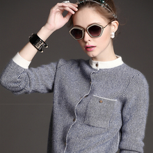 Long Sleeve Cardigans Sweaters Women 2018 Spring Autumn New Cashmere Wool Baseball O-Neck Strped Knitted Coat