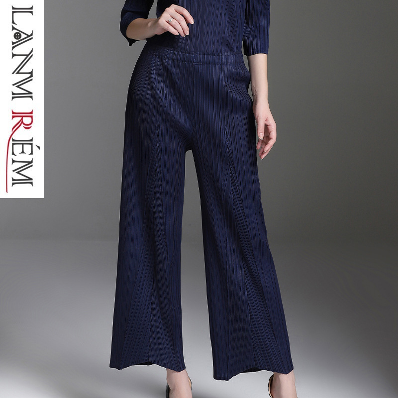 LANMREM 2019 New Fashion Spring spring Pleated Clothing Casual Elastic Waist Trousers Female's   Wide     Leg     Pants   YF772