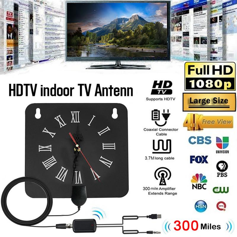 300 Miles Indoor Digital TV Antenna 1080p HD Signal Receiver Amplifier Alarm Clock Style with Signal Amplifier Booster-in TV Antenna from Consumer Electronics