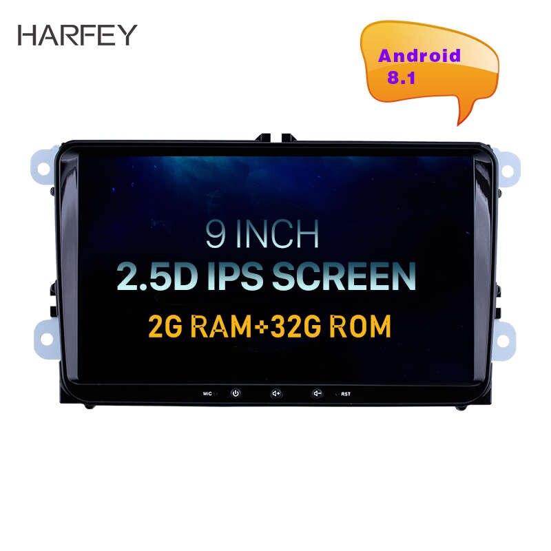 Harfey Car Radio GPS 9 2din Android 8 1 Headunit car multimedia Player for VW Volkswagen