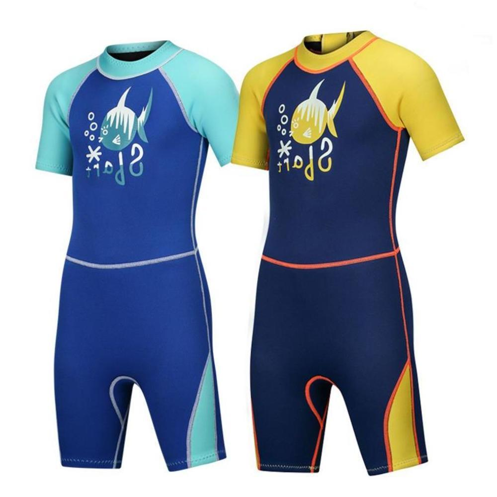 Sbart New Children 2 Mm Neoprene Kids Warm Bathing One Pieces Suit Half Sleeve Conjoined Diving Surf Swimsuit Free Shipping