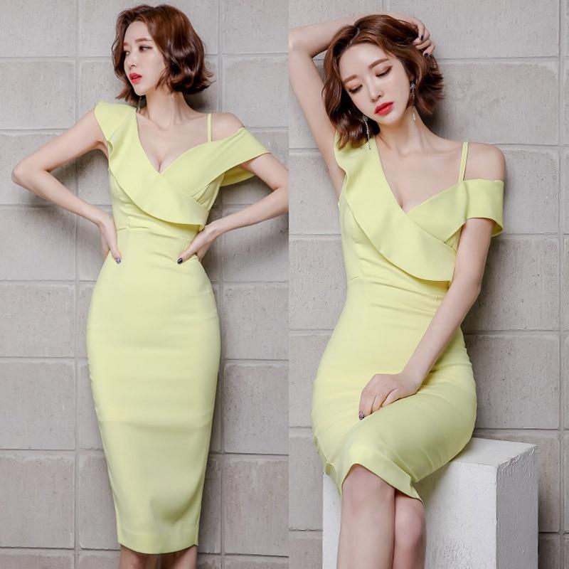 Mujeres verano nuevo desgaste temperamento coreano solido con cuello en V sexy un hombro paquete cadera natural sexy poliéster rodilla-leng vestido