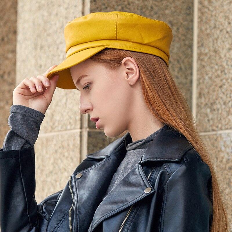 Autumn And Winter Black England Octagonal Hat Pu Cortex Peaked Cap Woman Leisure Newsboy Beret Casquette