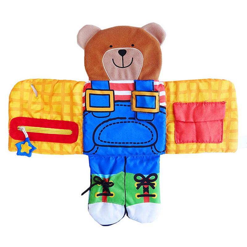 Baby Bear Wear Cloth Button Zipper Cloth Book Soft Baby Learning Education Fabric Book Infant Early Educational Cloth Books Toy