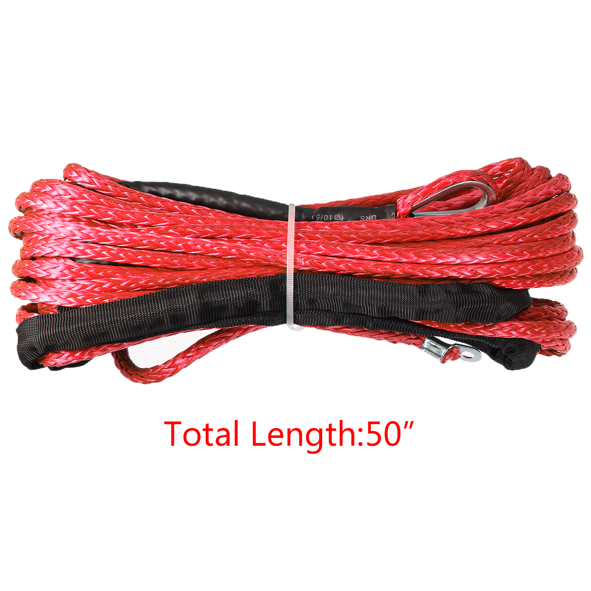 Image 2 - 1/4'' x 50' 7000lbs Synthetic Winch Rope Cable Line  Car Wash Maintenance String for ATV UTV Off Road Red-in Towing Ropes from Automobiles & Motorcycles