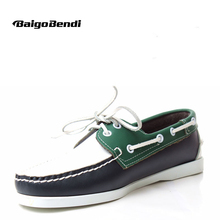New Trendy Mixed Colors Loafer Shoes Men Genuine Leather Casual Driving Lace Up Man Boat Four Seasons