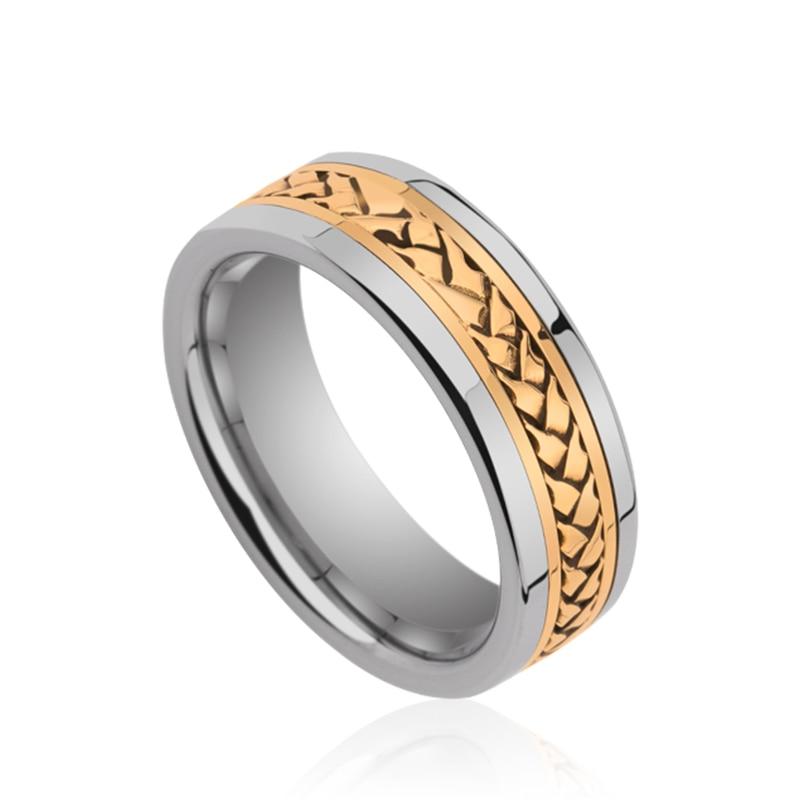 2019 Saya роскошный 8 мм ширина серебряные тона Вольфрам мужские свадебные полированные Кольца инкрустация золото комфорт Fit размеры 7 11