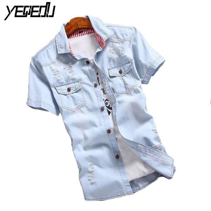 #2302 Sommer Heißer Verkauf Casual Herren Shirts Slim Fit Camisa Jeans Mode Kurzarm Chemise Homme Zerrissene Denim Hemd Männer M-3xl