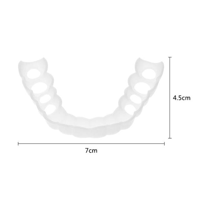 Comfortable Natural Cosmetic Fake Tooth Cover Snap On Silicone Perfect Smile Veneers Teeth Upper Beauty Tool Teeth for Men Women 4