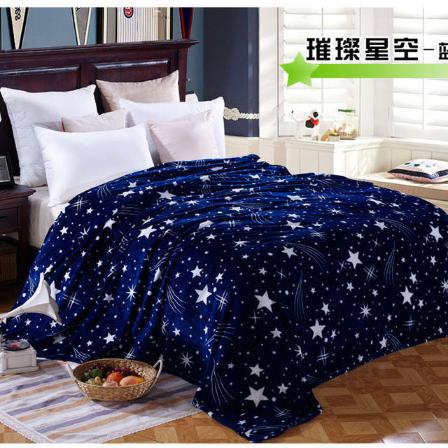 Stars Printed Blue Fleece Blanket