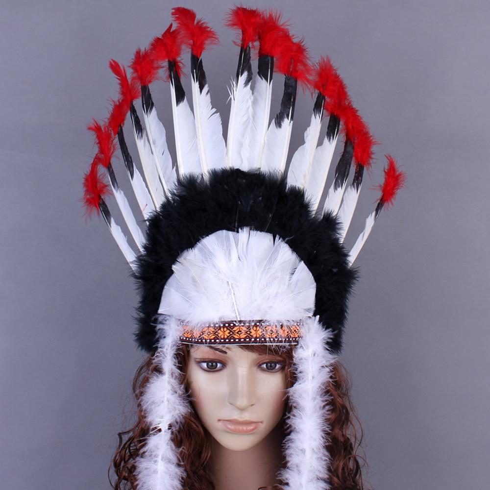 Cosplay Props Feather Headdress Indian Chieftain Hat Halloween Carnival Day Headband Headwear Villus Chiefs Cap Party Headwear