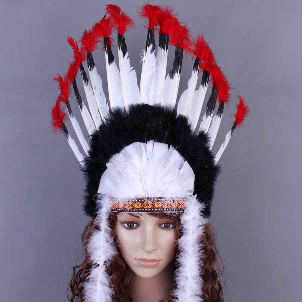 Rekwizyty do cosplay ozdoba na głowę z piór Indian Chieftain Hat Halloween karnawał dzień pałąk nakrycia głowy Villus Chiefs Cap ozdoby do włosów imprezowe