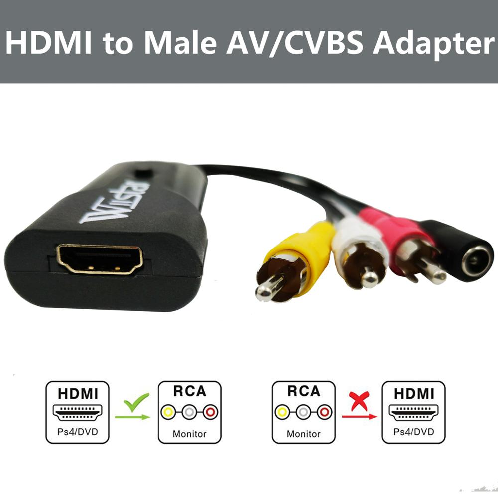 Wiistar HDMI To AV 3RCA Adapter Mini HDMI To Male AV/CVBS  L/R Video 1080P HDMI2AV Converter Support NTSC/PAL For PS4 Blue-ray