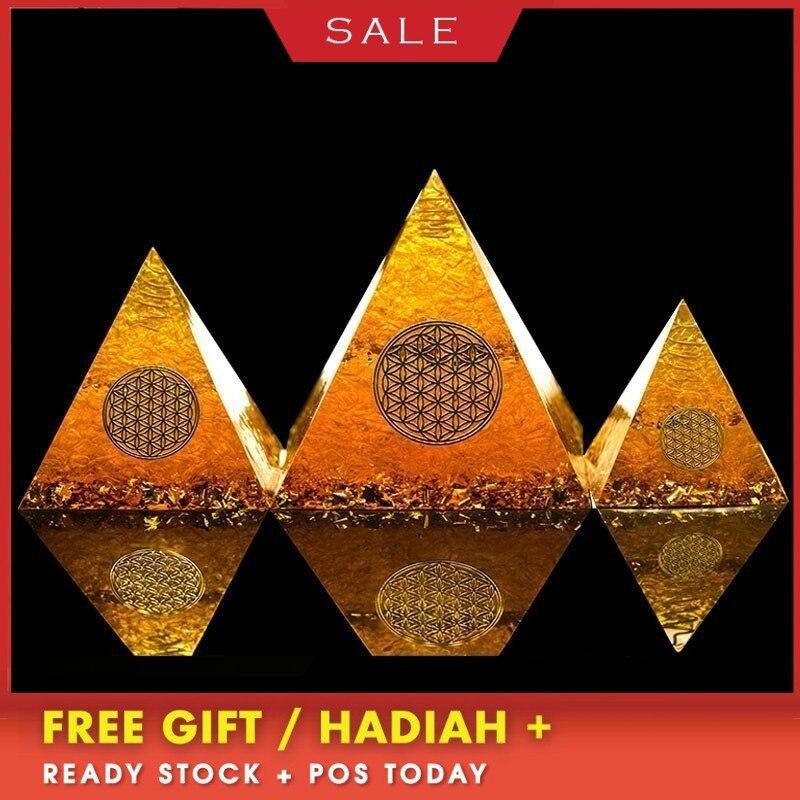AURA REIKI pyramide Orgonite naturel Citrine générateur d'énergie pyramide Transit collecte Fortune aide entreprise décoration cadeau