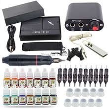 Complete Tattoo Kit Motor Pen Rotary  Machine Gun Color Inks Power Supply Needles set 14 pigments professional tattoo kit rotary machine guns needles beginner kit inks set tattoo power supply
