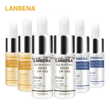 цена на Lanbena 24k Gold Six Peptides Serum Vitamin C+hyaluronic Acid Anti-aging Face Cream Acne Moisturizing Whitening Skin Care 6pcs