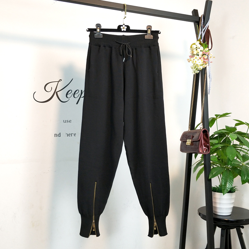 Qiukichonson Knitted Women Black Sweatpants 2019 Spring Korean Fashion Loose Jogger Pants Zip Design High Waist Harem Pants