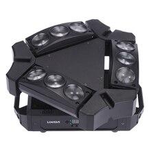 Mini lampe de scène pour boîte Disco KTV 90W avec 9led RGBW, polychrome, commande sonore DMX512, 16/48 canaux, Mini lampe araignée pour boîte