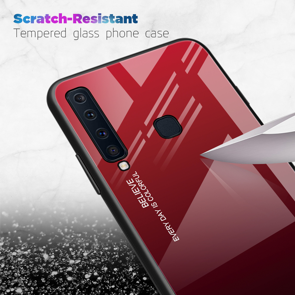 For Samsung A9 A8 A6 A7 2018 A750 Tempered Glass Fashion Case For Galaxy J8 J4 J6 Plus 2018 Gradient Shockproof Anti-fall Cover