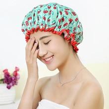 Толстая 1 шт. водонепроницаемая шапочка для ванной, двойной слой, покрытие для волос для душа, женские принадлежности, шапочки для душа, аксессуары для ванной комнаты