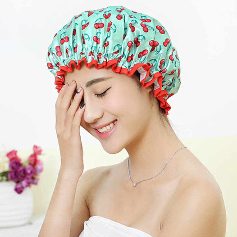 Thick 1Pcs Waterproof Bath Hat Double Layer Shower Hair Cover Women Supplies Shower Caps Bathroom Accessories