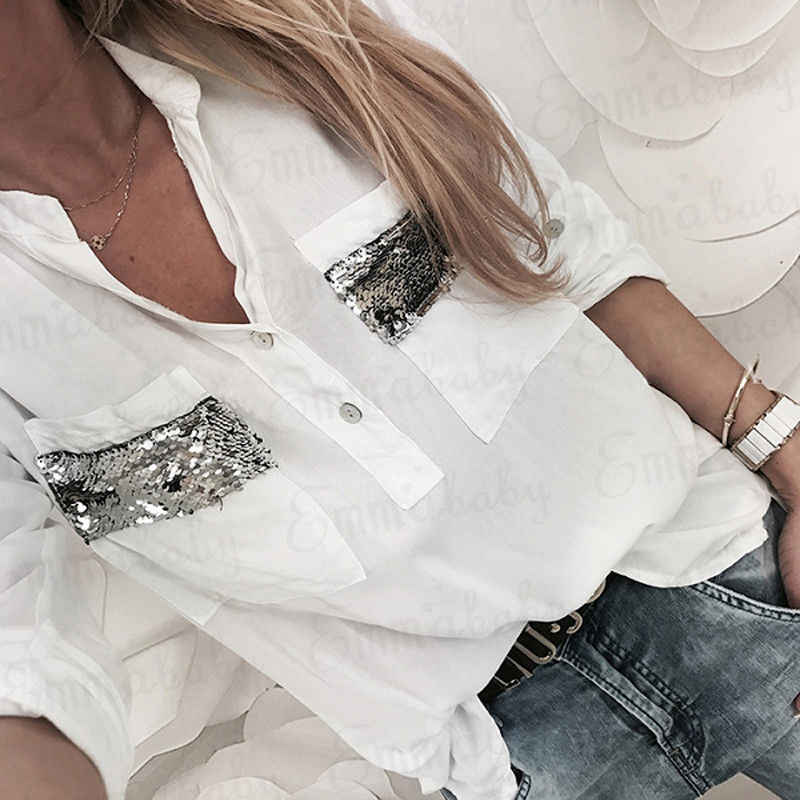 93429b6414f Womens Casual Summer Top Fashion Ladies Shirt Autumn sequin pocket Loose  Blouse female harajuku tumblr blusa