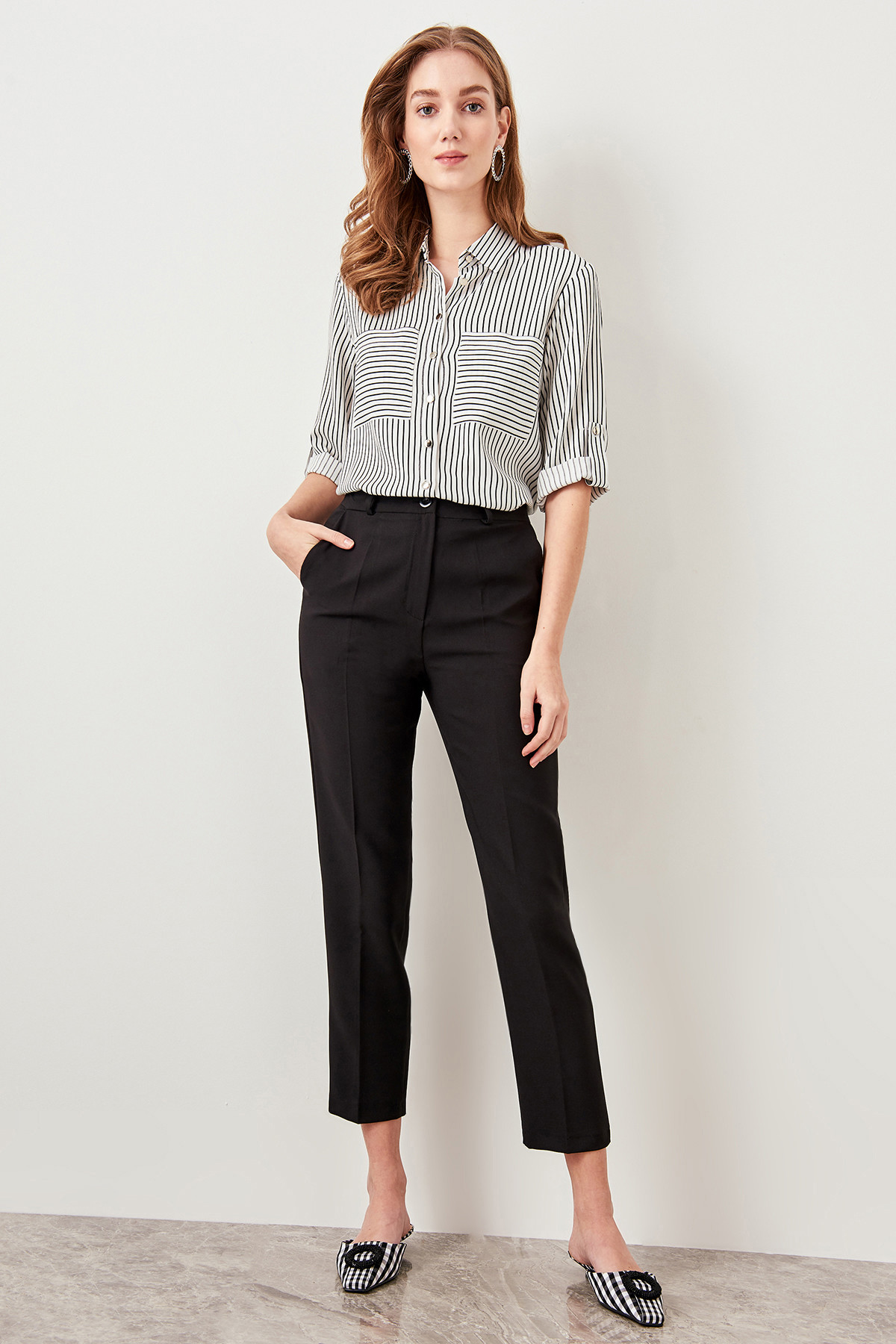 Trendyol Basic Black Formal Trousers / Office Lady Pants TWOSS19ST0038