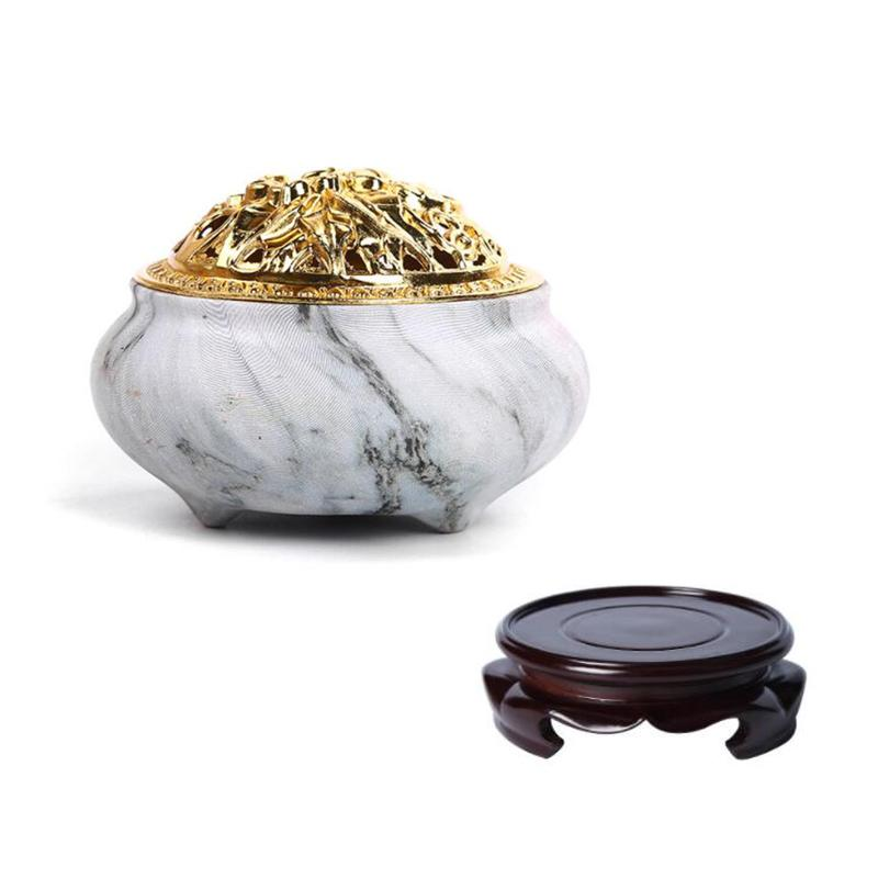 Portable Porcelain Censer Coil Incense Holder Ceramic Incense Burners Aromatherapy Furnace With Base Use In Home Office Teahouse